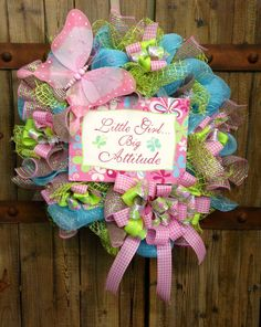 Girly wreath by WilliamsFloral on Etsy, $80.00