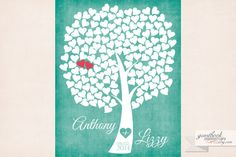 Heart Guestbook Tree 150 Guests   20x30 print by guestbookmemories, $50.00
