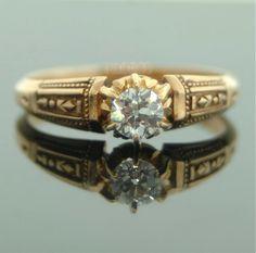 Antique Rose Gold Diamond Ring