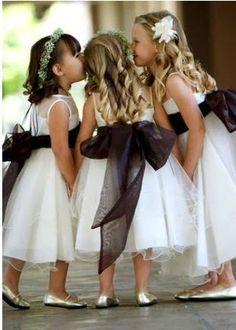 Change sash to match bridesmaids dresses #Black #wedding #flower girls beautiful!!! Wedding Flower Girls, Black Weddings, Bridesmaid Dresses, Black Flower Girl Dress, Wedding Flowers, White Weddings, Flower Girl Dresses, Big Bows, Little Flowers