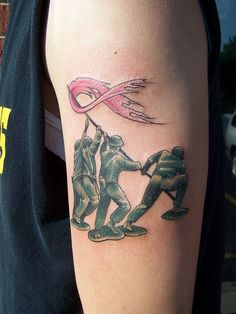 toy army breast cancer tattoo for my gma for being a fighter. Great and tribute for those fighting cancer or know someone who is.