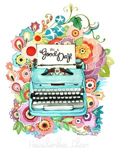 Typewriter and Flowers Watercolor Painting