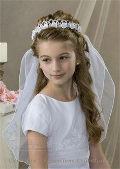 first communion hair style -- so pretty!