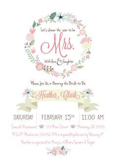 Gold Pink & Mint Floral Bridal Shower invite