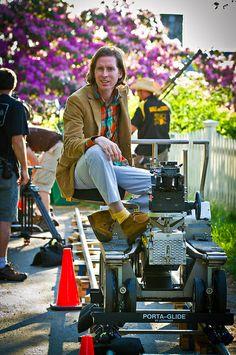 Wes Anderson behind the scenes of Moonrise Kingdom.