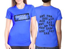 "Greek Week Screenprinted Shirt ""Greek Week- Jersey"" Design $10.90 each, 24 piece minimum #Greek #GreekWeek #Sorority #Fraternity #Clothing #AlphaOmicronPi #AOPi #AOII sorority recruitment, bid day, goddesses, greek week, delta phi, phi epsilon, design, shirt, go greek"
