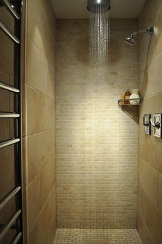 I like the idea of a rain head shower above and a wall mounted directional shower head too - perfect if you don't have the space for a double shower but like to shower together - win win