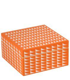 Medium Geo Lacquer Box in Orange decorative object, home decor, vignette styling
