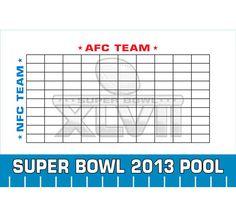 Super Bowl Pools Ideas free printable super bowl bingo cards superbowl gameday 2013 Super Bowl Xlvii Theme Pool Board A Great Super Bowl Party Game