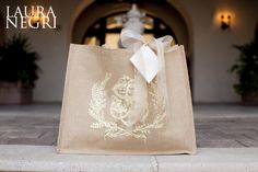 out of towner gift bags with custom monogram