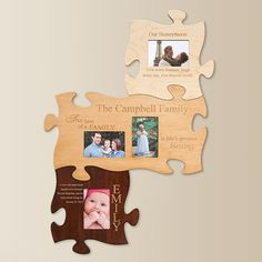 Family Wood Veneer Puzzle Wall Plaque   Personal Creations  My brother can make these