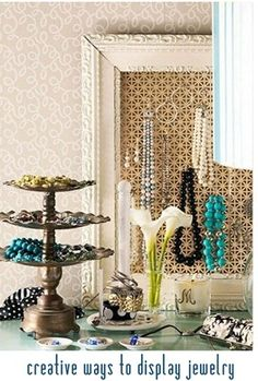 creative ways to display jewelry-taking my favorite jewlery and having it on display for easy access?? geniussss