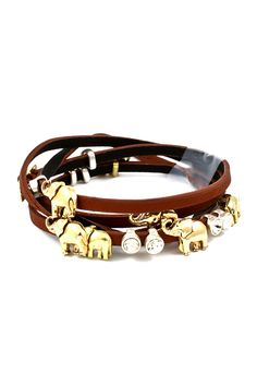 Elephant Charm Bracelet in Chestnut on Emma Stine Limited