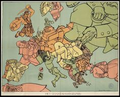 Humoristic map of the First World War