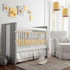 Gray and Yellow Zig Zag Crib Bedding