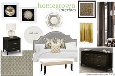 Get the complete shopping list for this design for $25! It includes everything you need to complete this look for your bedroom. Yellow and Gray Master Bedroom Design