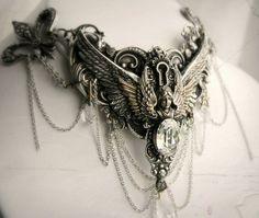 Story Aged Silver Brass and Swarovski by HarlequinRomantique, $220.00