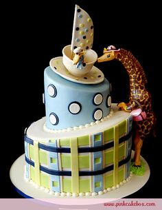 Baby Shower Giraffe Cake made for a tea party themed baby shower - party / Pink Cake Box