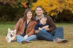 family of 3 with dog