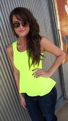 """Neon Green Peplum Top - maybe in a different color, something more """"understated""""!"""