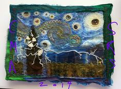 'Vincent & Salvador Take a Walk ' - CM Anderson, 2014, Salvaged Remnants Studio Mixed media fabric collage contribution for Round Robin Art Journal.