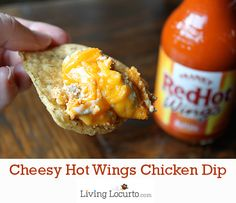 Make this Hot Wings Chicken Dip Recipe right now! It's SO good. via LivingLocurto.com