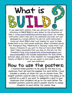 BUILD Math Center Posters and info