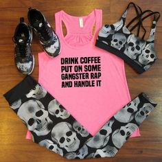 Funny workout tank top with super cute skull sports bra and skull leggings