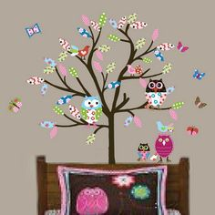 Funny Colorful Birds Tree Nature Wall Murals Stickers for Baby Kids Wall Design Ideas
