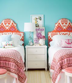 wall colors, interior, orang, headboards, shared rooms, girl bedrooms, twin beds, twins, girl rooms