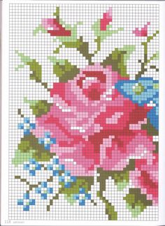 Gallery.ru / Фото #102 - 14 - tatasha pink roses, crossstitch, rose closeup, rose chart