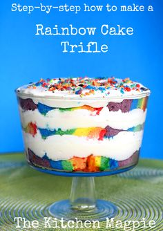 Easy, beautiful & delicious, this Rainbow Trifle is sure to be a hit! | The Kitchen Magpie #recipes