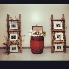 "Photo ladders, wedding decorations, ""We know you'd be here today, if heaven wasn't so far away."" Winter rustic wedding."