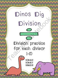 Dinos Dig Division: Division Practice for each Divisor 1-10 from Julie Mulherin  on TeachersNotebook.com -  (10 pages)  - Are you looking for some extra division practice for your students? This packet includes a page of division for each divisor 1-10. Each page includes 8 basic fact problems, 1 one-step story problem, and 1 two-step story problem.   I hope your students dig