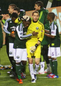 Lovel Palmer and Troy Perkins. #Portland #Timbers vs. Philadelphia Union at Jeld-Wen Field on March 12, 2012. Photo by Jennifer Kesgard. #FirstKick #RCTID
