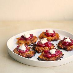 Sweet Potato Latkes Recipe with Cranberry Sauce —for Thanksgivukkah