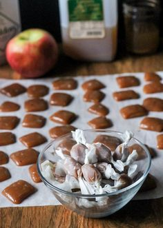 Apple Cider Caramels | made with delicious fresh cider for a burst of fall flavors in your mouth! Recipe from bakerita.com