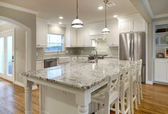 -Like the #bianco #antico granite here with the glass subway backsplash and white shaker cabinets- University Park Remodel - Greenbrook Homes - Dallas