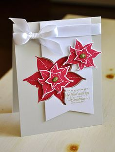 Poinsettia card by Maile Belles for Papertrey Ink. #Christmas #cards #paper_crafting