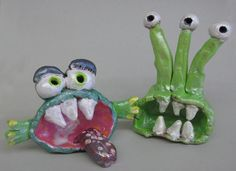Clay Germs in secondary colors with Sax Pearlescent gel medium over the top.