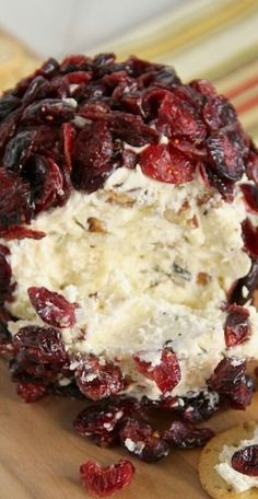 Cranberry Pecan and White Cheddar Cheese Ball - a cheese ball made with cream cheese and sharp cheddar and toasted pecans and rolled in dried cranberries.