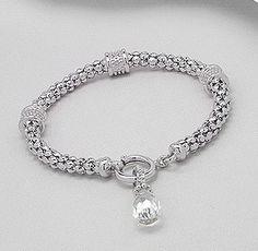 Rhodium Plated Cz Briolette Charm Bracelet w/ Removable Charm for Necklace $39.97