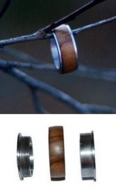 Unique wood turning project idea: Wood ring and metal base by renewablerings.com Stainless steel threaded ring base that allow you to make beautiful wooden rings with inlays that you can swap in and out. Woodturn something different!