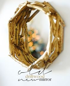 Driftwood mirror frame with easy tutorial.