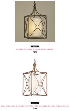 Shades of Light Riviera Iron Lantern $479 vs Overstock Josie Antique Copper Iron Chandelier with Fabric Shade $122