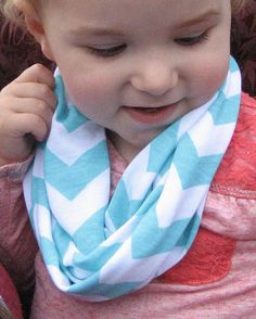 Light Turquoise Baby Toddler Child's Tiffany Aqua Blue jersey knit Chevron Scarf by ChevronScarf - shown on a 22-month-old girl... this was her favorite scarf of all the ones she tried on... her second favorite was the pink and white chevron ♥
