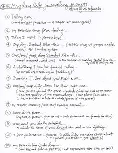 printable PDF of journaling prompts from Ali Edwards. journal prompts, everyday life, daily journal, journals, project life, writing prompts, life journal, scrapbook, ali edwards