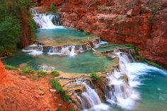 """Beaver Falls, Havasupai by mrwsierra, via Flickr. """" A star attraction on the hike between Supai and the Colorado River, one of the greatest hikes in the Southwest or anywhere."""""""