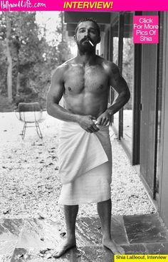 shia labeouf in a towel... pretty hot pic, but look at his eyes... he's just so sad. :(