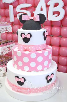 Stunning cake at a Minnie Mouse Birthday Party!  See more party ideas at CatchMyParty.com!  #partyideas #minniemouse